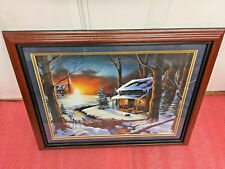 BS5 Vintage Iverson painting print framed picture log cabin beautiful