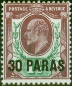 British Levant 1909 30pa on 1 1/2d Pale Dull Purple & Green SG16 Fine Mtd Mint