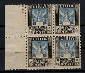 P129093/ LIBYA / ITALIAN COLONY / SASSONE # 31 BLOCK OF 4 MNH - CV 440 $
