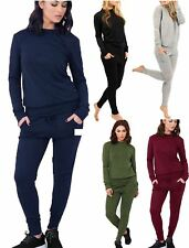 Womens Plain Two Piece 2 Pocket Set Tracksuit Ladies Long Sleeve Jogging Suit