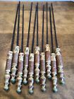 """10 hand forged iron hand carved hand painted wood handled skewers 19"""""""