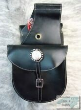 Showman BLACK Top Grain Leather Western Saddle Bag! NEW HORSE TACK!!!