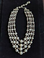 Vintage Japan Graduated Pearl Glass Bead Multi Strand Necklace Silver Tone