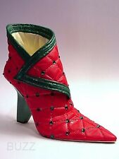 Pure Velvet Mrs Claus Red Boot Dazzling Green Stones & Trim Just the Right Shoe