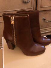 Michael Kors Margaret Booties Ankle Boots Leather Heels Dark Caramel 9,5 M $165