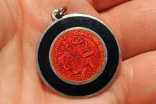 Black Red Guilloche Enamel Sterling Silver Saint Christopher Medal Pendant RARE