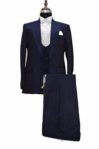 Men Blue Designer stylish Tuxedo Wedding Prom Party Dinner Suit (Coat+Pant+Vest)