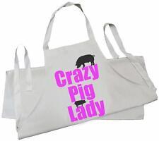 Crazy PIG LADY-Naturale Cotone Drill Grembiule-BBQ, Cucinare, Cucina, maialino