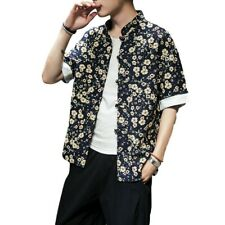 Mens Printed Floral Chinese style Stand collar Beach Shirt Blouses T-Shirt New D