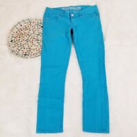 Express Womens Crop Legging Jeans Size 4 Blue Colored Low Rise Skinny Stretch
