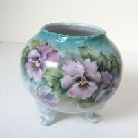 Antique ART NOUVEAU VASE Large Round Blue Porcelain Floral Dresser Jar Receiver