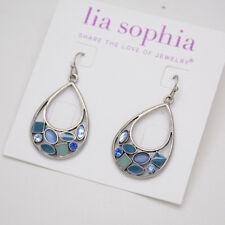 Lia sophia jewelry silver plated opal blue rhinestone teardrop hoop earrings vtg