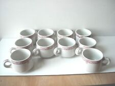 """10 Wellsville China """"Belmont"""" Restaurant Diner Ware Coffee Cups Pink Floral Dsgn"""