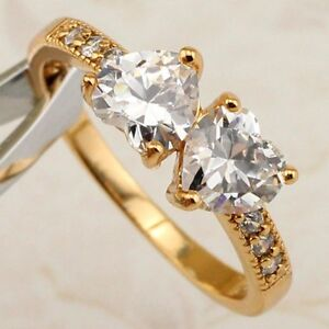 Size 5 5.5 6.5 7.5 8.5 9.5 Double Heart White CZ Jewelry Gold Filled Ring R2313