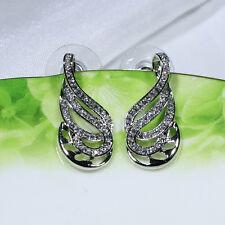 18K White Gold Filled CZ Women Wedding Party Gift Stud Dangle Earrings E4210
