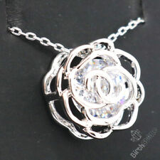 Gercia Pendant Necklace 14k White Gold Plated Cubic Zirconia Necklace Jewelry