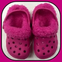 Girls Ladies Pink Removable Fluffy Slipper Clog Shoes - Adult Size 3 / EU 36
