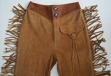 Vintage RALPH LAUREN COUNTRY WESTERN Cowboy Suede Fringed Pants Trousers 6 USA