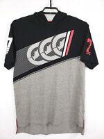 ECKO UNLTD Mens Black Gray White Logo Short Sleeve Hooded Shirt Size XL NWT