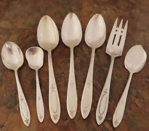 Oneida Adam 7 Serving Pieces Spoons Community Vintage Silverplate Flatware Lot K