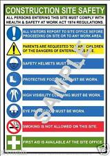 CONSTRUCTION BUILDING SITE A3 LAMINATED POSTER HEALTH AND & SAFETY WORK PLACE