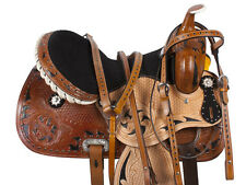 "16"" LEATHER BARREL RACING WESTERN PLEASURE TRAIL STUDDED HORSE SADDLE TACK"