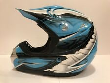 GMAX Motor Cross Helmet 46X Carolina Blue, Silver, Black & White