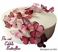 PRE-CUT BEAUTIFUL PINK BUTTERFLIES EDIBLE WAFER PAPER CUP CAKE TOPPER DECORATION
