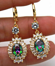 18K Yellow Gold Filled - 1.6'' Oval Flower Rainbow Mystic Topaz Zircon Earrings