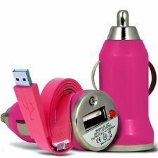Pink Single Port USB Car Charger & Flat Data Cable For Samsung Galaxy Grand 2