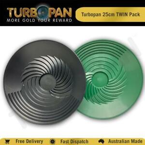 TURBOPAN 25CM PLASTIC GOLD PAN TWIN PACK PROSPECTING PANNING SLUICE -GREEN+BLACK