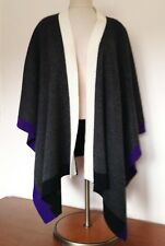 Coldwater Creek Wool Blend Charcoal White Purple Shawl Cape One Size