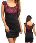 Women Black Pink Lace Sheath Corporate Dress Size 8 S 10 M 12 L 14 XL NEW