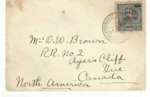 Port. ANGOLA letter to AYER'S CLIFF, Canada BENGUELLA canc. 50/65Reis Republica