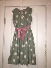 LITTLE JOULES CLOTHING Girls POLKA DOT GREEN/Blue Cotton Dress Size 9-10 140 CM