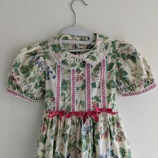 Girls Vintage 80s Rare Editions Floral Dress 5? Fruit Puff Sleeve Spring Easter