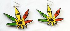 XL legno Orecchini _ CANAPA foglio _ fumare Leaf EARRING _ rasta, reggae, CARNEVALE
