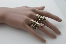 Women Vintage Gold Metal Chains Ring Fashion Jewelry Long Finger Band Spikes 7.5