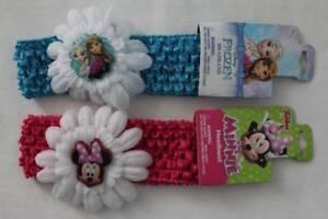 NEW 2 Girls Headbands Pink Minnie Mouse Blue Frozen Disney Hair Bands Flower