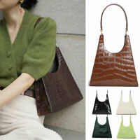 Real Leather Croc Print Trianle Shoulder Bag Purse Trapezoid Baguette Top Handle