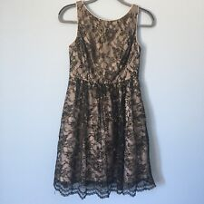 Jessica Simpson Black Gold Lace Overlay Formal Flare Dress 4