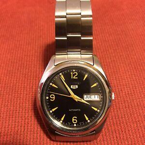 Seiko 5 vintage orologio automatico- quadrante nero