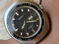 Vintage Caravelle Day-Date Pilot Watch w/Mint Dial,Patina,Divers All SS Case