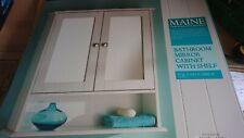 Maine Bathroom Double Door Cabinet & Shelf, Mirror, White, New, storage