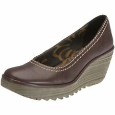 FLY LONDON 'YONI' BROWN LEATHER PLATFORM WEDGE COURT SHOES UK 7 EUR 40 RRP £85