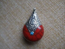 1 x Red Real Turquoise Stone Oval Carved Lucky Totem Charm Pendant For Necklace