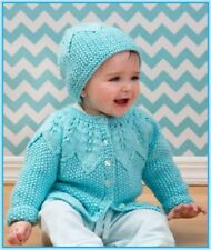 BC015 KNITTING PATTERN SEED STITCH CARDIGAN AND HAT BABY TODDLER in ARAN