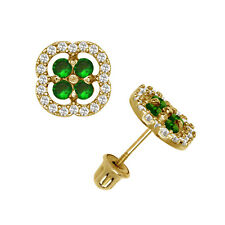 Brilliant Halo Emerald Squircle Shape Stud Earrings Screw Back 14K Yellow Gold