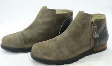 Sorel W MAJOR LOW Womens Sz 8.5 Suede Leather Side Zip Ankle Booties Boots