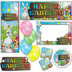 Cute Bunny Happy Easter Colours Eggs Banners Decorations Balloons Party Supplies